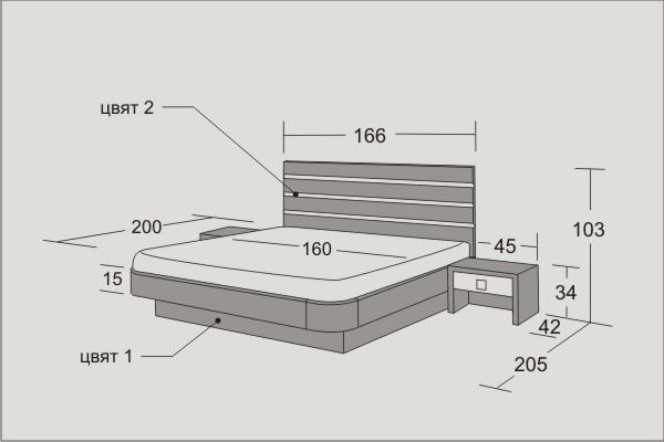 Легло и нощни шкафчета Виена