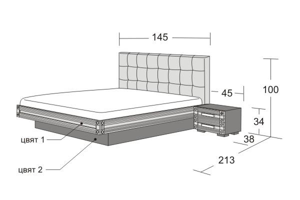 Легло и нощни шкафчета Модена